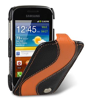 Чехол Melkco Jacka special leather case for Samsung S6500 Galaxy Mini 2 (black/orange)