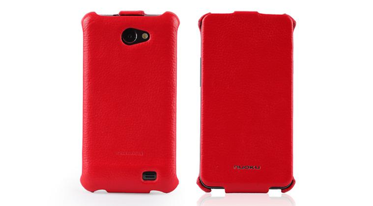 Чехол Nuoku ROYAL luxury leather case for Samsung i9103 Galaxy R (red)