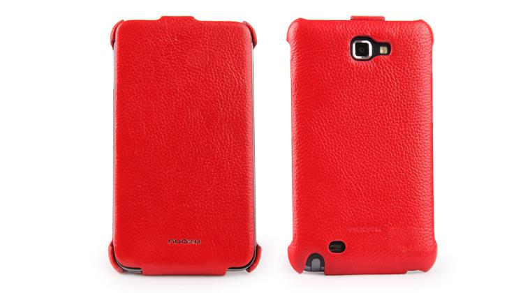 Чехол Nuoku ROYAL luxury leather case for Samsung i9220 Galaxy Note N7000 (red)